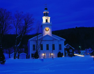 Church on a winter evening in Hinesburg, Vermont