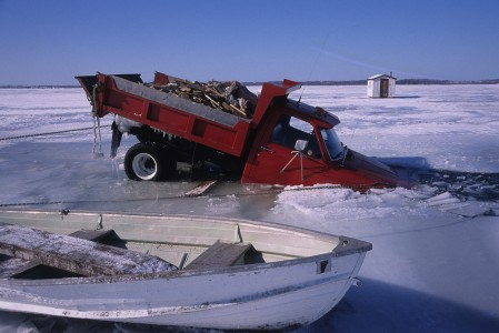 Wood delivery truck broken throught the ice on Lake Champlain in Swanton, Vermont.