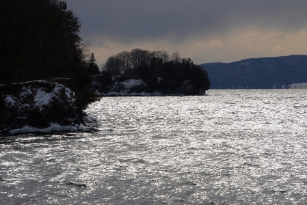 Lake Champlain Shelburne Farms Vermont shoreline.