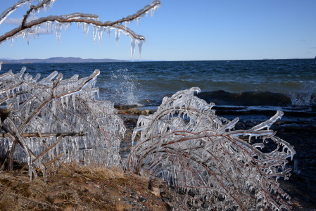 Lake Champlain Shelburne Farms Vermont icy shoreline.