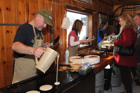 Dakin Farm maple sugar pancake breakfast party in Ferrisburg, Vermont.