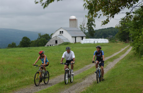 Mountain bikers ride the trails at Mt. Snow in Dover, Vermont