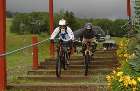 Mountain biker rides the trails at Mt. Snow in Dover, Vermont