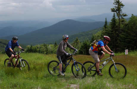 Mountain bikers ride the trails at Killington Ski Area in Killington. Vermont