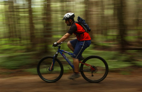 Mountain biker rides the trails at Killington Ski Area in Killington. Vermont