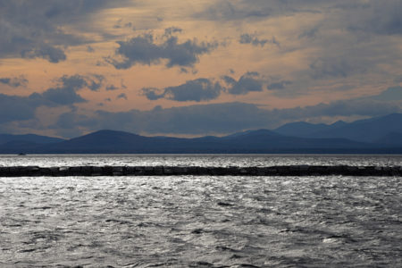 Lake Champlain wind and waves Burlington, Vermont waterfront.