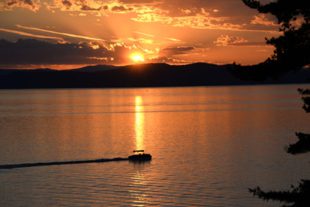 Lake Champlain sunset boating Shelburne, Vermont.
