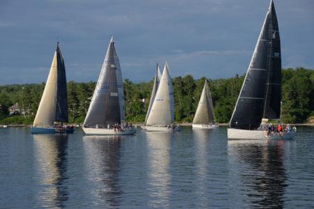 Lake Champlain Yacht Club Wednesday night sailboat race on Shelburne Bay, Shelburne, VT.