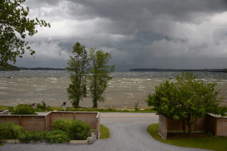 Shelburne Bay storm on Lake Champlain in Shelburne, Vermont.