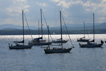 Sailboats on Lake Champlain in Charlotte, Vermont.