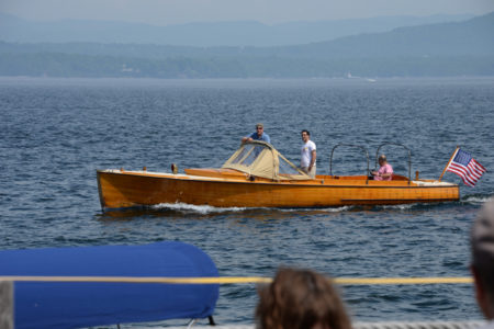 Powerboating along Essex, N.Y. on Lake Champlain.