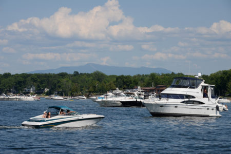 Boats on Lake Champlain in Colchester, Vermont.
