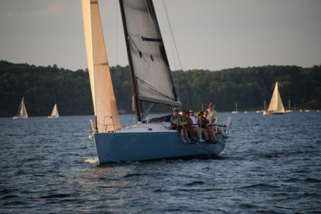 Lake Champlain Yacht Club Wednesday night sailboat race on Shelburne Bay, Shelburne, VT.